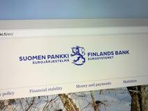 Homepage del banco de Finlandia Fotografía de archivo