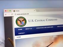 Homepage del comando centrale degli Stati Uniti - USCENTCOM o CENTCOM Fotografie Stock Libere da Diritti