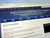 Homepage del consiglio superiore della Riserva Federale Fotografia Stock