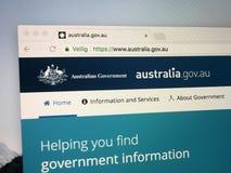 Homepage del funzionario del governo australiano fotografie stock