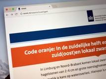 Homepage del instituto meteorológico holandés real Imagen de archivo libre de regalías