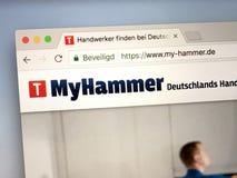 Homepage del MyHammer alemán Fotos de archivo libres de regalías