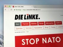 Homepage del partido político alemán socialista democrático el Lef imagen de archivo libre de regalías