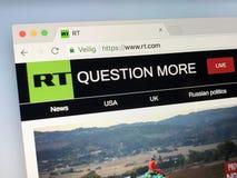 Homepage del RT precedentemente Russia oggi Fotografie Stock Libere da Diritti