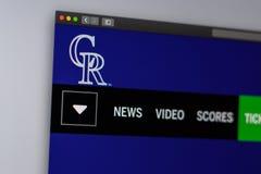 Homepage del sito Web di Colorado Rockies della squadra di baseball Chiuda su del logo del gruppo fotografia stock