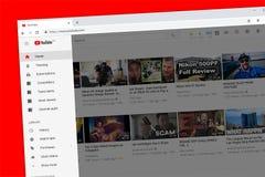 Homepage del sito Web di Youtube con la barra laterale fotografie stock