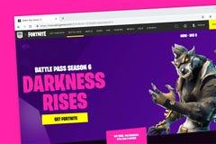 Homepage del sito Web del video gioco di Fortnite immagini stock