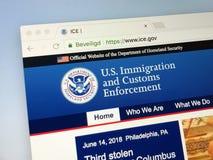 Homepage del U S Inmigración y aplicación de las aduanas - HIELO Fotografía de archivo