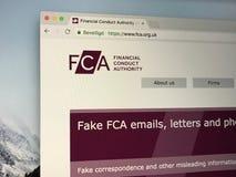 Homepage dell'autorità finanziaria di comportamento di U k immagini stock