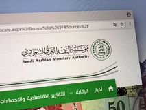 Homepage dell'autorità monetaria saudita Fotografie Stock Libere da Diritti