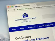 Homepage della banca centrale europea o del ECB Fotografie Stock
