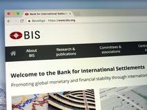 Homepage della Banca dei regolamenti internazionali o Della Banca dei Regolamenti Internazionali Immagini Stock Libere da Diritti