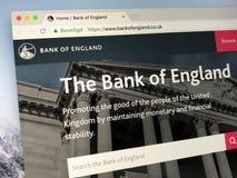 Homepage della banca di Inghilterra, Fotografia Stock Libera da Diritti