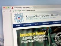 Homepage della guardia costiera degli Stati Uniti o Del USCG Fotografia Stock