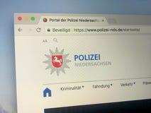 Homepage della polizia degli stati federati della germania di Bassa Sassonia Fotografie Stock Libere da Diritti