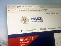 Homepage della polizia dello stato di Brandenburger del Germen Fotografia Stock