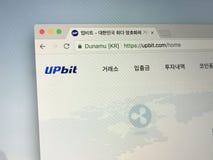 Homepage dello scambio UPbit del bitcoin Fotografia Stock