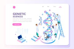 Homepage di biochimica di Biotech del laboratorio della genetica illustrazione di stock