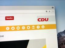 Homepage di Christian Democratic Union tedesco Fotografie Stock Libere da Diritti