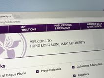 Homepage di Hong Kong Monetary Authority HKMA Fotografia Stock