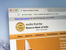 Homepage di Reserve Bank dell'India RBI Fotografia Stock