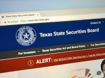 Homepage di Texas State Securities Board Fotografia Stock