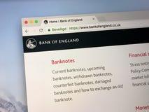 Homepage do Banco da Inglaterra Foto de Stock