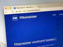 Homepage do flitsmeister Fotos de Stock