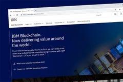 Homepage do Web site do IBM Blockchain imagens de stock