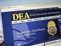 Homepage of the The Drug Enforcement Administration - DEA. Amsterdam, Netherlands - June 14, 2018: Official American government law enforcement agency website royalty free stock images