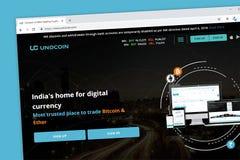 Homepage för website för Unocoin indisk cryptocurrencyplånbok royaltyfria bilder