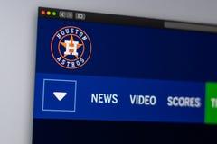 Homepage f?r basketlagHouston Astros website St?ng sig upp av laglogo arkivbild