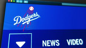 Homepage f?r basketlagLos Angeles Dodgerswebsite St?ng sig upp av laglogo vektor illustrationer