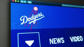 Homepage f?r basketlagLos Angeles Dodgerswebsite St?ng sig upp av laglogo stock illustrationer