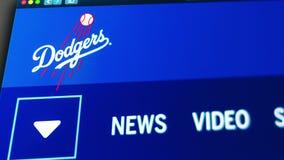 Homepage f?r basketlagLos Angeles Dodgerswebsite St?ng sig upp av laglogo royaltyfri illustrationer