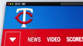 Homepage f?r basketlagMinnesota Twinswebsite St?ng sig upp av laglogo stock illustrationer