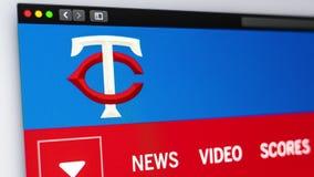 Homepage f?r basketlagMinnesota Twinswebsite St?ng sig upp av laglogo royaltyfri illustrationer