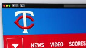Homepage f?r basketlagMinnesota Twinswebsite St?ng sig upp av laglogo vektor illustrationer