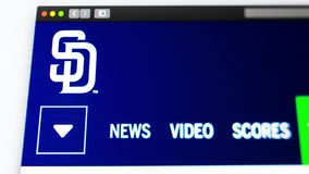 Homepage f?r basketlagSan Diego Padres website St?ng sig upp av laglogo royaltyfri illustrationer