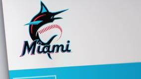Homepage f?r website f?r basketlagMiami Marlins St?ng sig upp av laglogo royaltyfri illustrationer
