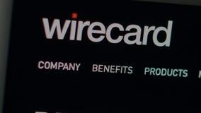 Homepage f?r Wirecard f?retagswebsite St?ng sig upp av den Wirecard logoen royaltyfri illustrationer
