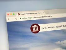 Homepage of Forum for Democracy. Amsterdam, Netherlands - May 20, 2018: Website of Forum for Democracy Dutch: Forum voor Democratie, FvD is a national stock images