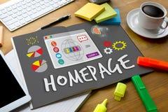 Homepage Globalnej komunikaci adresu wyszukiwarki Homepage komputer zdjęcia royalty free