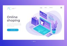 Homepage. Header for website and mobile website. Concept of online shop, online store. Transfer money from card. royalty free illustration