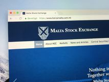 Homepage of The Malta Stock Exchange. Amsterdam, the Netherlands - July 20, 2018: Official website of The Malta Stock Exchange, originally known as the Casino Stock Image