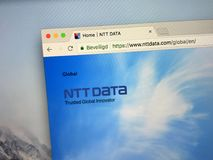 Homepage of NTT Data. Amsterdam, the Netherlands - August 26, 2018: Website of NTT Data, Japanese system integration company Stock Image