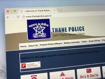 Homepage of the police department of the city of Thane, India. Amsterdam, Netherlands - May 28, 2018: Website of of the police department of the city of Thane stock photos