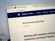 Homepage of The President of the Russian Federation. Amsterdam, the Netherlands - August 24, 2018: Website of The President of the Russian Federation royalty free stock photos