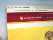 Homepage Pundżab National Bank fotografia stock