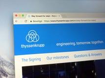 Homepage Thyssenkrupp AG Obrazy Stock